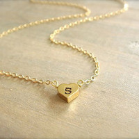Custom Initial Gold Heart Necklace REVERSIBLE Bride by Beazuness