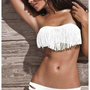 Moon Shine Apparel  White Fringe Strapless Bikini