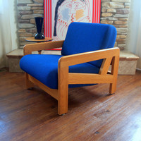 DANISH MODERN LOUNGE Chair Solid Oak Wood Frame Fabulous Geometric Design Original Rich Blue Wool Upholstered Post Modern Vintage Armchair