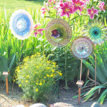 SALE Recycled Glass Garden Yard Art Outdoor Decor by jarmfarm
