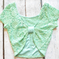 Venetian Lace Coral Bow Back Crop Top