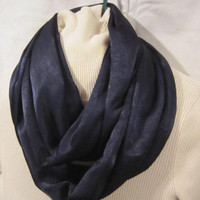 Infinity scarf, circle scarf, cowl scarf  for ladies in dark navy blue