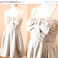 ON SALE Audrey Pleated Bow Denim Sundress in French by PYTboutique
