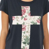 Relaxed Floral Cross Tee | FOREVER 21 - 2019572156