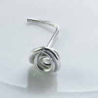 Mini Tiny Rose Flower Spiral Nose Ring Silver Plated by Fantasidea
