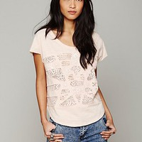 Free People Cotton Slub Embroidered Tee