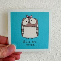 Owl funny magnet, Girls are wise, by SimplyCutebyKarin on Etsy