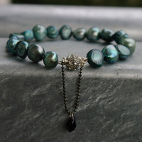 Bracelet handknotted freshwater pearls Teal by michli on Etsy