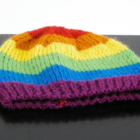 Rainbow Beanie Hat GLBTQ Pride by NikisKnerdyKnitting on Etsy