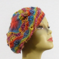 Dusty Rainbow Slouchy Hat by NikisKnerdyKnitting on Etsy