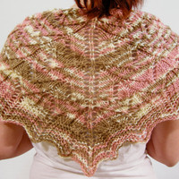 Lace Shawl/Shawlette Pink Tan and White by NikisKnerdyKnitting