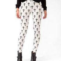 Cross Print Leggings | FOREVER 21 - 2030187569