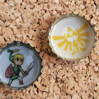 Zelda Bottle Charms - upcycled jewelry necklace link tri force emblem unique geekery FREE shipping to United States