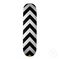 Black and white  Zigzag Chevron Pattern Custom Skate Board from Zazzle.com