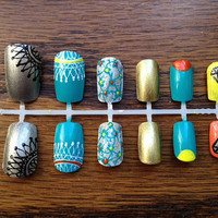 Yellow Orange and Turquoise Gold and Silver Nails by JardinDesigns