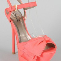 Qupid Ciara-20 Bow Peep Toe Stiletto Sandal