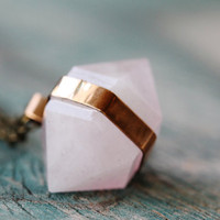 Banded Rose Quartz Necklace - Brass