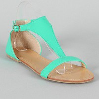 Ula Patent Open Toe T-Strap Flat Sandal