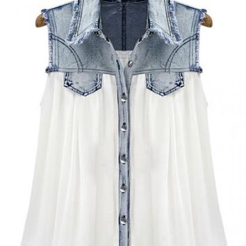Stiching Denim Lapel Sleeveless White Chiffon Shirt$49