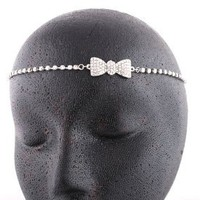 Amazon.com: Ladies Silver with Clear Iced Out Bow Head Chain: Jewelry