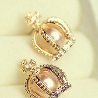 Cute Crown Rhinestone Earrings
