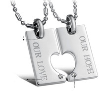 Never Fade Titanium Korean Matching Heart Couple Necklace - GULLEITRUSTMART.COM