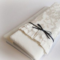 Giselle - Ivory silk bridal clutch purse with lace overlay and bow accent | Percy Handmade