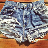 Vintage Distressed Denim Shorts (High or Low Waist)