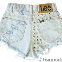 ALL SIZES &quot;SPARK&quot; Vintage Levi high-waisted denim shorts light blue studded distressed frayed jeans
