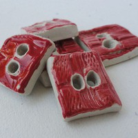 Handmade Ceramic Buttons Strawberry Red Scarlet by TotallyToTheT