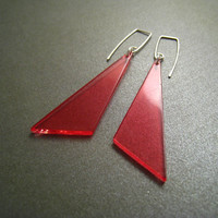 Sterling Silver Earrings Pink Lucite Triangles by ModernChromatic