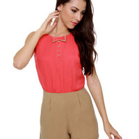 Charming Color Block Romper - Open Back Romper - Coral Romper - $58.00