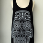 White Ancient Art Skull Print on  Black Long Tank Top by Tshirt99