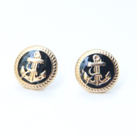 Black and Gold Anchor Studs - Golden Anchor Earrings