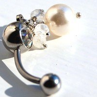 Belly Ring /  Belly Jewelry / Swarovski Pearl and by RockYourBelly