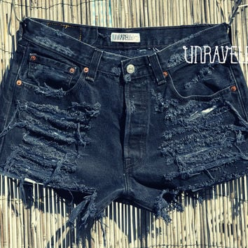 Black High Waisted Levis MEDIUMLARGE by UnraveledClothing on Etsy