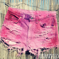 Tie Dyed Denim Shorts MEDIUM by UnraveledClothing on Etsy