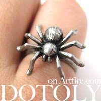 SALE Adjustable Tarantula Spider Animal Insect Ring in Matte Silver