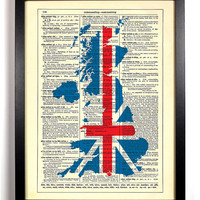 Map Of British Isles with Flag Repurposed Book Upcycled Dictionary Art Vintage Book Print Recycled Vintage Dictionary Page  Buy 2 Get 1 FREE
