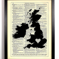Map Of The British Isles With Heart Repurposed Dictionary Vintage Book Print Recycled Vintage Dictionary Page  Buy 2 Get 1 FREE