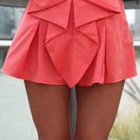 Coral Bow Front Shorts with Pleated Waist Detail