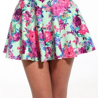 Floral Print Skater Skirt in Mint