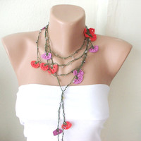 Red Pink and green Lace flower Necklace Lariat Bracelet  by Periay