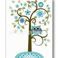 "Baby Print Art for Children Kids Wall Art Baby boy Room Decor Baby Nursery Decor Baby Boy Nursery Decor 8""x10"" tree owls decor blue green"
