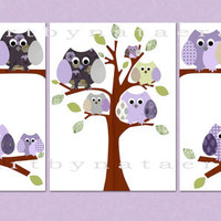"Kids Wall Art Baby Room Decor kids room baby nursery decor Nursery print art kids art set of 3 11""x14"" owls decoration tree baby art violet"