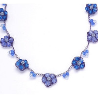 Blue Crystal Necklace - Forget Me Not Necklace