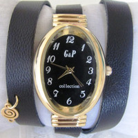 Unique Handmade Bracelet Oval Gold Watch - Lady style with a lovely pattern  FREE SHIPPING