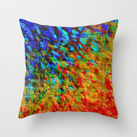 COLLISION COURSE - Bold Rainbow Splash Bricks Urban Jungle Ocean Waves Nature City Acrylic Painting Throw Pillow by EbiEmporium