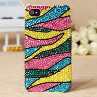 FREE SHIPPING Worldwide iPhone 5 4S 4G 3GS Colorful Beautiful Shiny Swarovski Crystals Best Handmade Girly Back Skin Case Cover