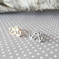 Anchors Away Tiny Petite Anchor Post Earrings - Gold or Silver